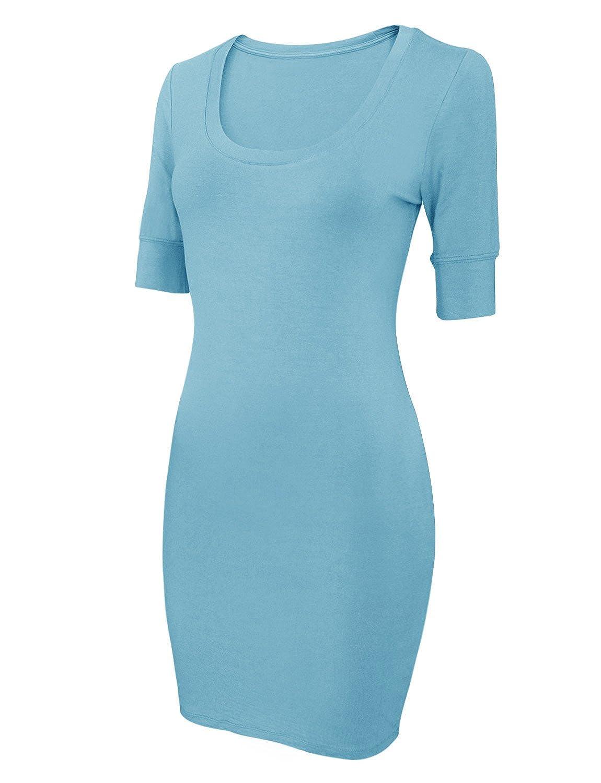 HRYfashion Damen Short Sleeve Scoop Neck Bodycon Dress