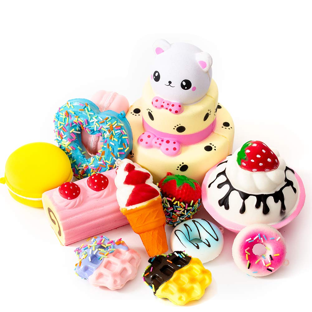 SYYISA Jumbo Squishies Slow Rising [12-Pack]: Bear Cake, Ice Cream, Donut, Macaron, Starawberry Cake, and Waffles Kawaii Soft Food Squishy Toys - Squishys are Great Sensory Toys for Kids! Comes in Mix by SYYISA (Image #1)