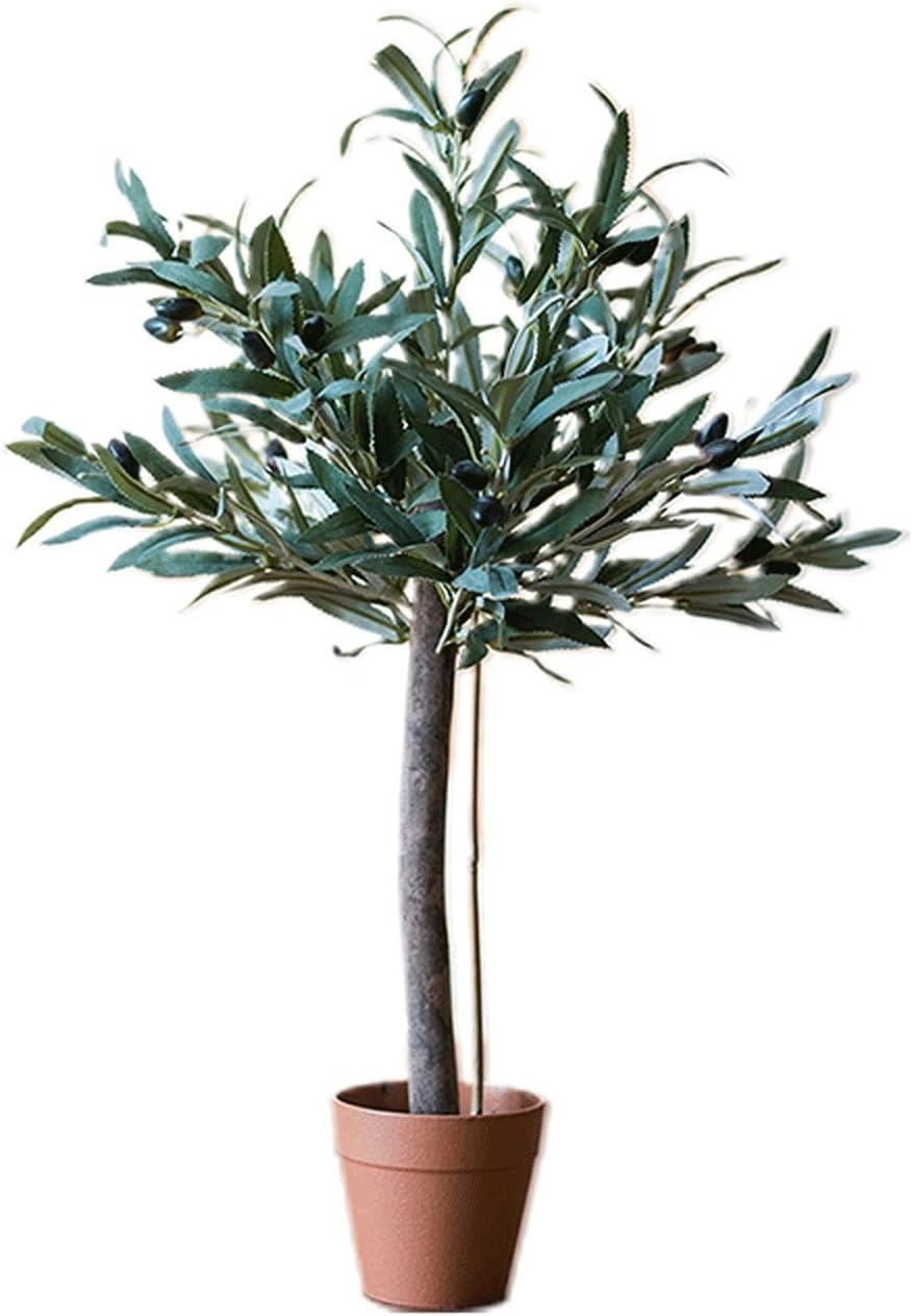liushop Plantas Artificiales Plantas de Olivo Artificial 23 Pulgadas Fake Olive Rifle Deja Topiary Árbol de Seda Faux Planta Decoración, Plantas Artificiales realistas Bonsái Artificial
