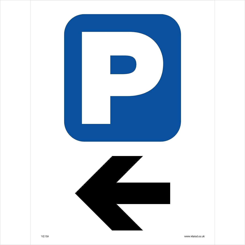 White Background VE159 Vehicle Sign Parking Left 300mm x 400mm .Sticker//SAV