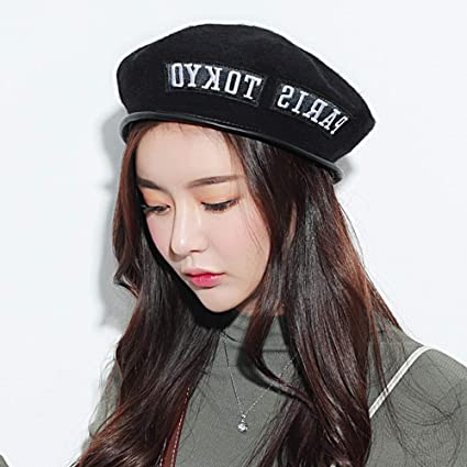 7172254485485 Vinteen Autumn and Winter Wool Berets Female Korean Version English  Alphabet Painter Hat Cap Simple Trend