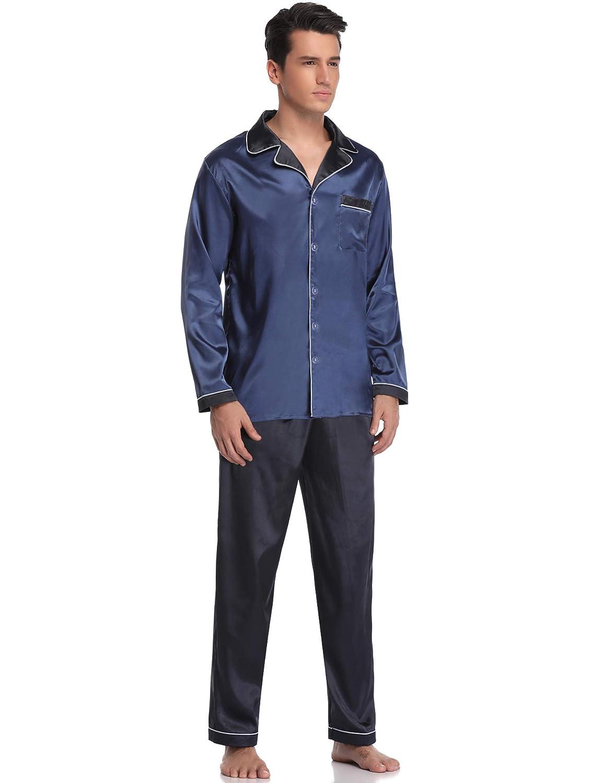 Aibrou Cl/ásico Pijamas Hombre 2 Piezas Saten Ropa de Dormir Hombre,Suave,C/ómodo y Agradable
