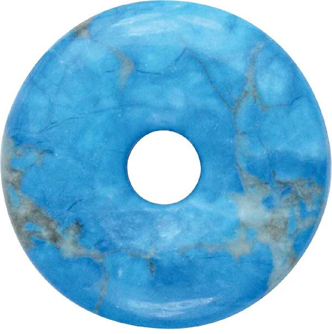 Tü rkenit Donut 20 mm als Geschenkset mit Lederband - Edelstein Anhä nger Tü rkis Udig.de