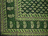 Homestead Block Print Tapestry Cotton Spread 110'' x 72'' Twin Green