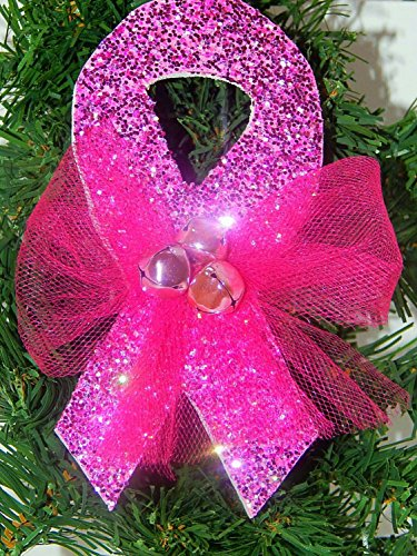 Breast Cancer Awareness Pink Ribbon Christmas Ornament