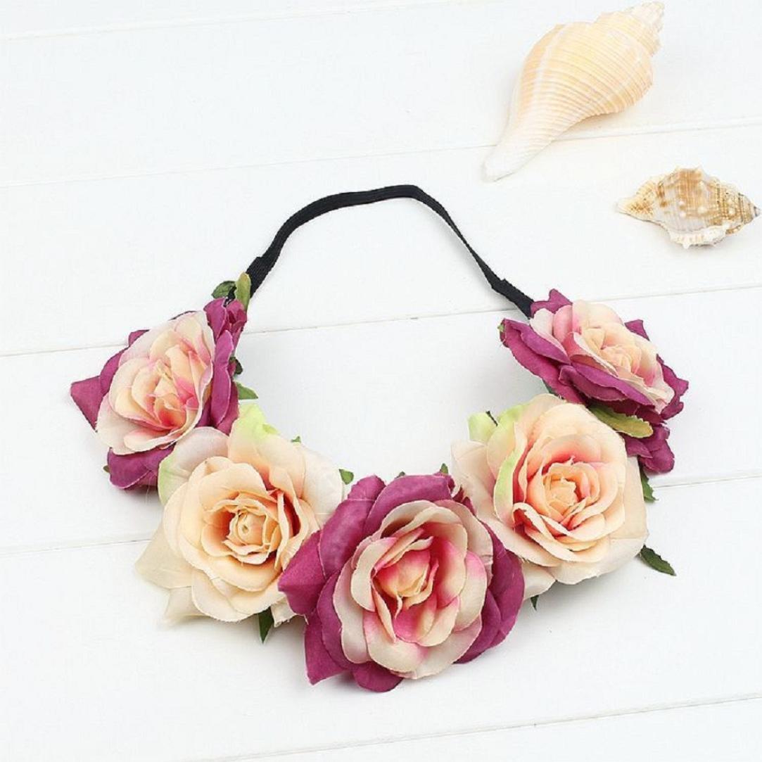 GreatFun Large Party Floral Rose Flower Headband Hair Crown Festival Boho Garland (J)