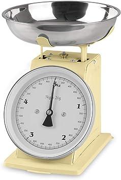 GOURMETmaxx - Báscula de cocina analógica con estilo retro de la escuela antigua, acero inoxidable, vainilla, oc: Amazon.es