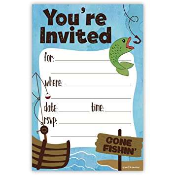 Amazon Com Fishing Party Invitations 20 Count With Envelopes