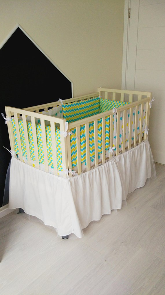 Baby bedding set,crib bedding, baby shower gift,crib bumper,baby bed,polka dot bedding,chevron bedding,yellow and blue pattern,baby blanket