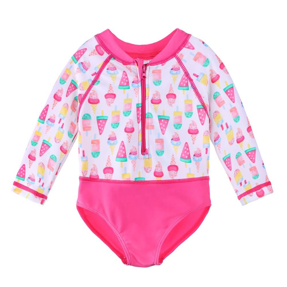 Seafolly Girls Sweet Summer Short Sleeve Zip Front Swimsuit Rashguard 56390T