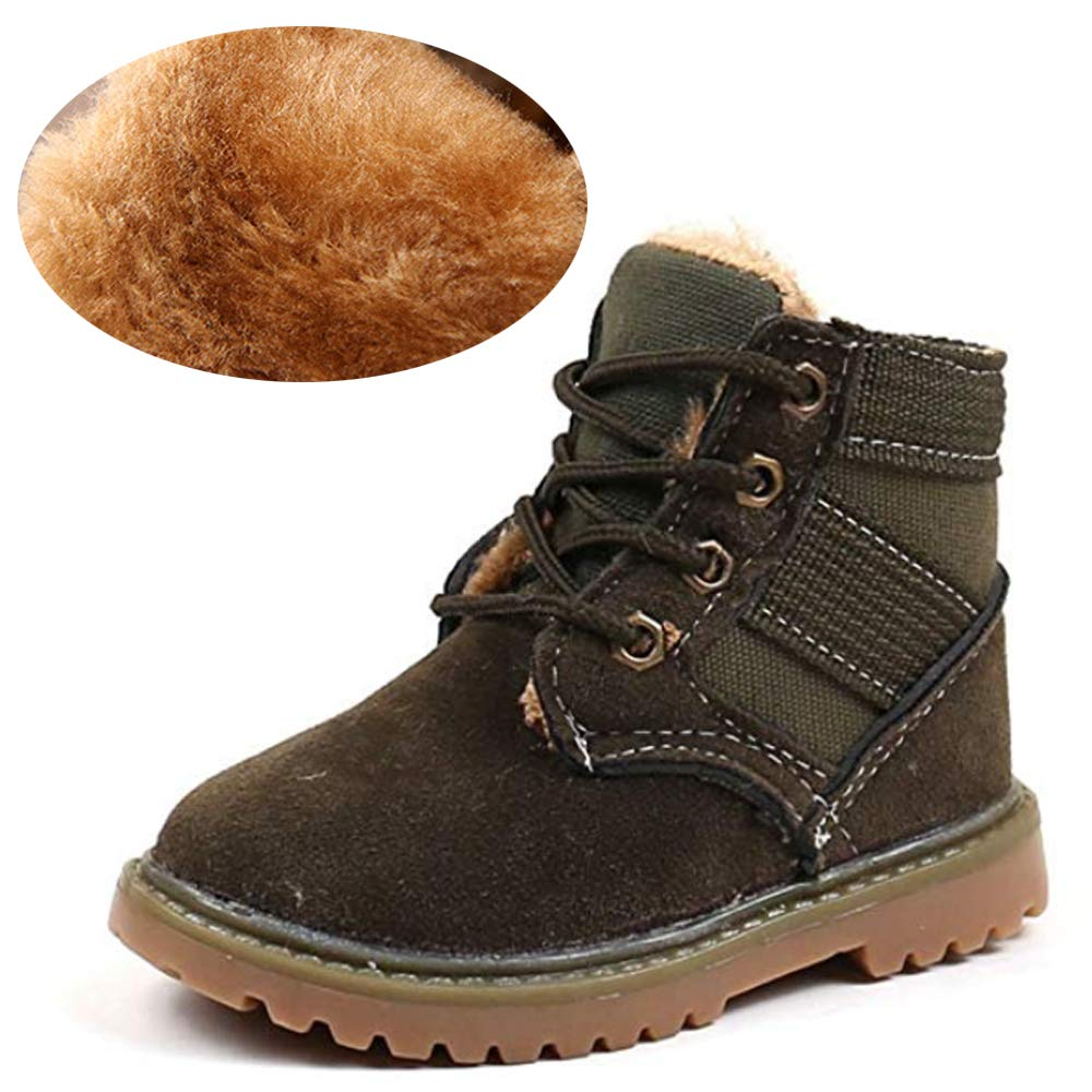 Tutoo Toddler Infant Kids Boys Girls Boots Black Army Hiking Snow Booties Winter Warm