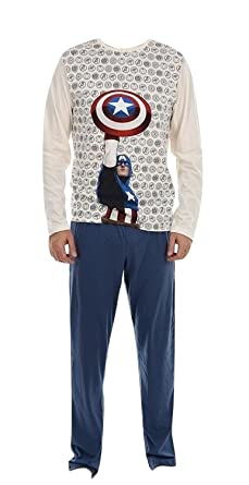 Marvel Mens Cotton Long Pyjama Set (Beige, Small)