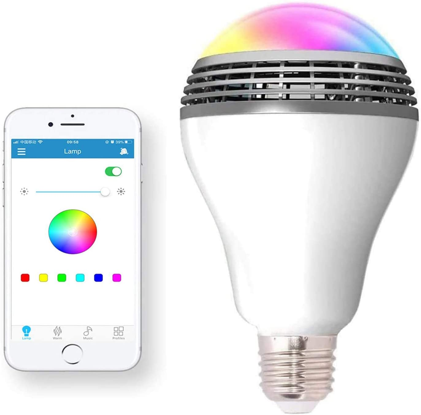 Smart Light Bulb with Bluetooth Speaker and Controlled RGB Multi Color  Adjustable and Dimmable by Wireless APP Music Speaker Bulb