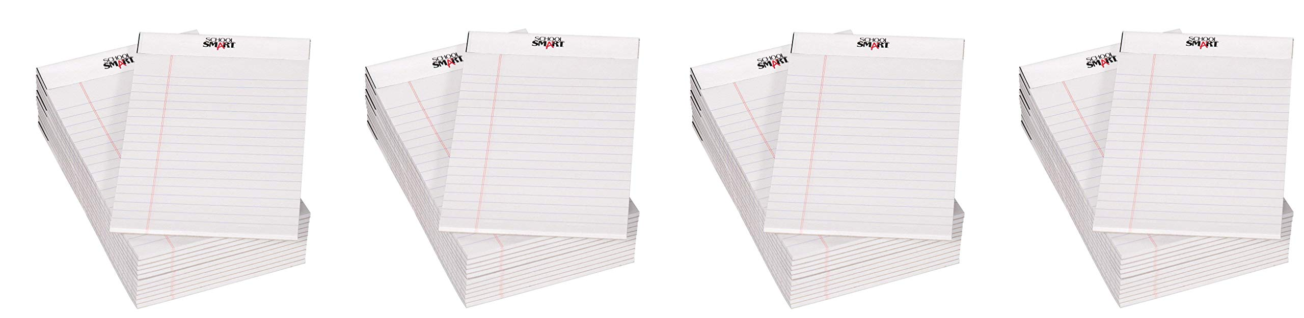 School Smart Junior Legal Pad, 5 x 8 Inches, 50 Sheets Each, White, Pack of 12 (Fоur Paсk, White) by School Smart
