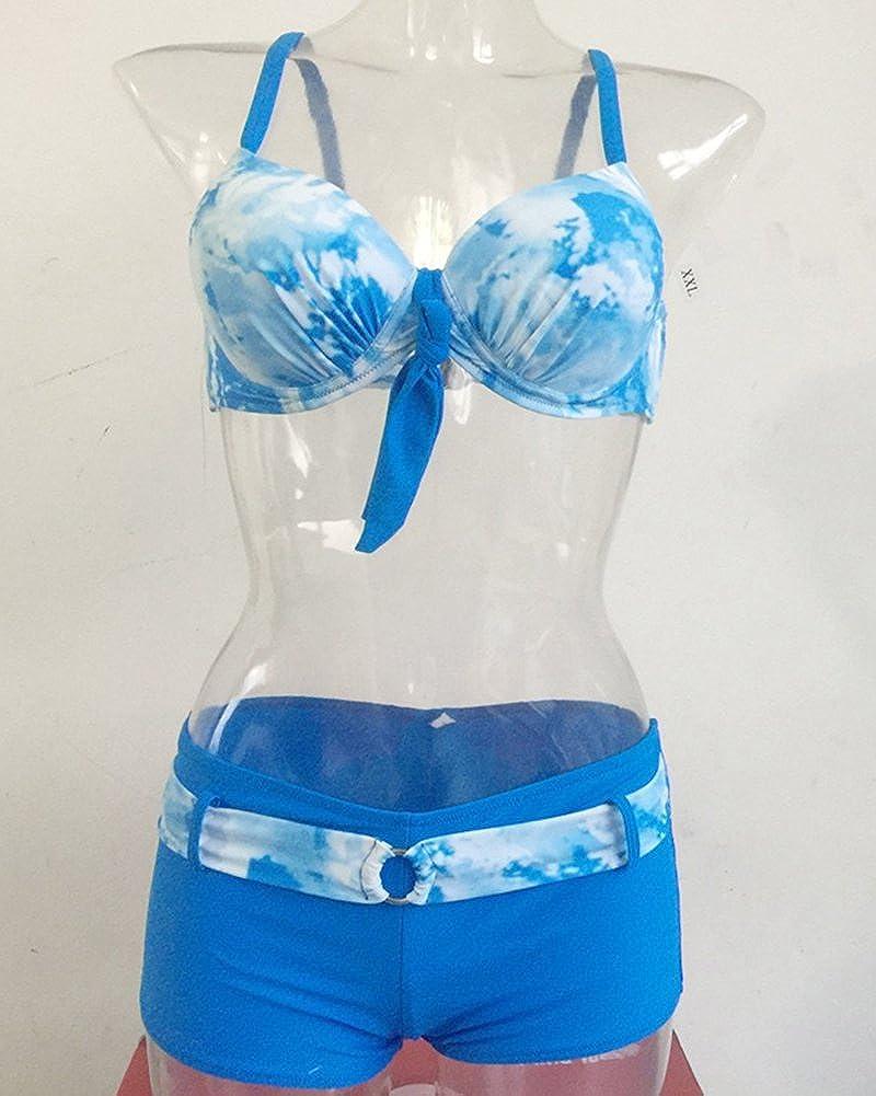 Femme Bikini 2 Pieces Imprim/é Soutien-Gorge /à Bretelle Push-up Maillot de Bain Shorty