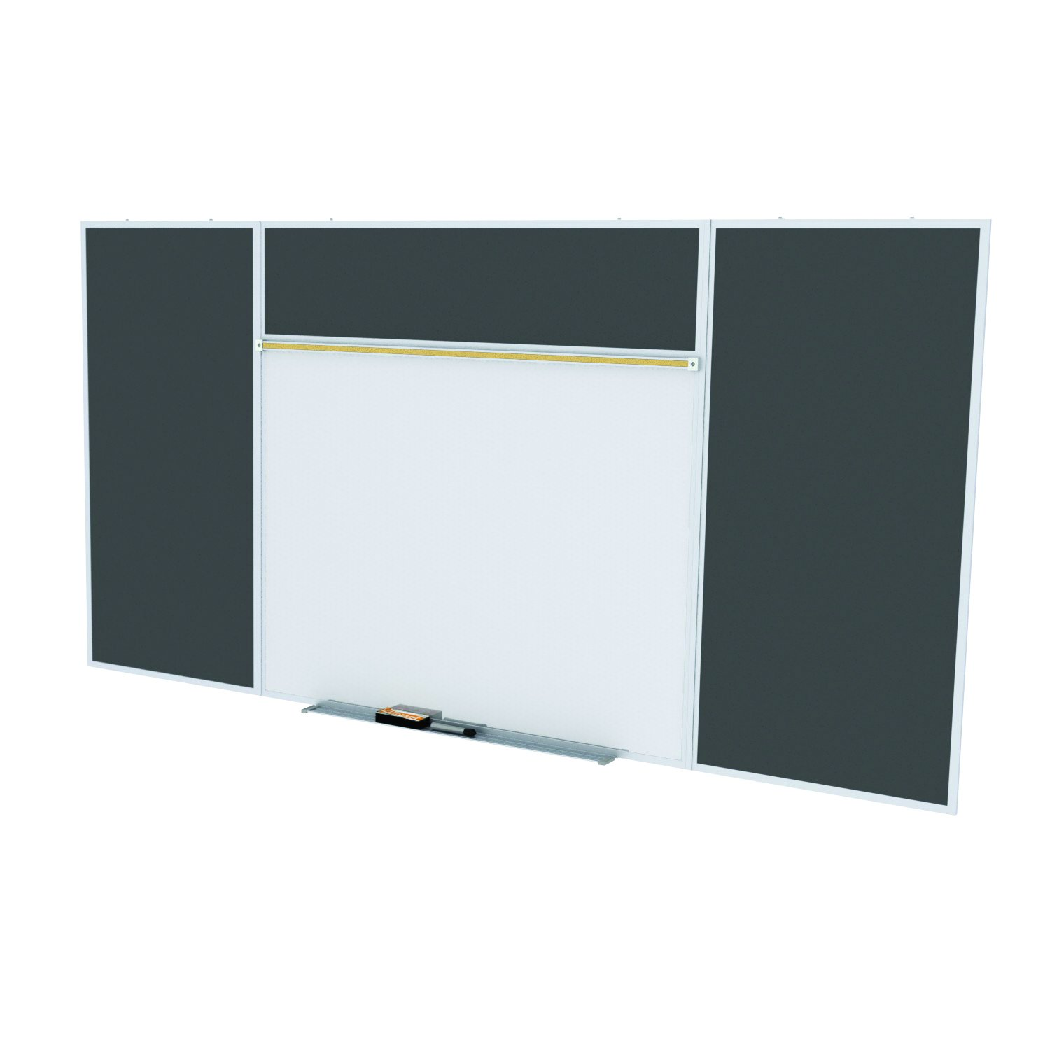 Ghent Style E 4 x 16 Feet Combination Board, Porcelain Magnetic Whiteboard and Recycled Rubber Bulletin Board, Black , Made in the USA