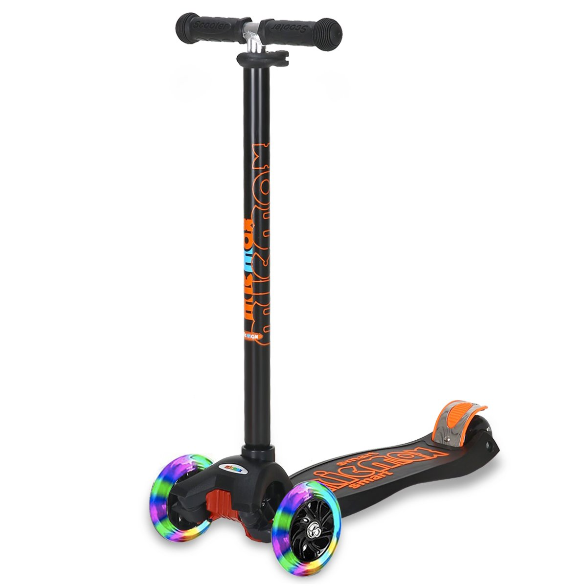 Banne Scooter Height Adjustable Lean to Steer Flashing PU Wheels 3 Wheel Kick Scooters for Kids Boys Girls (Black II)