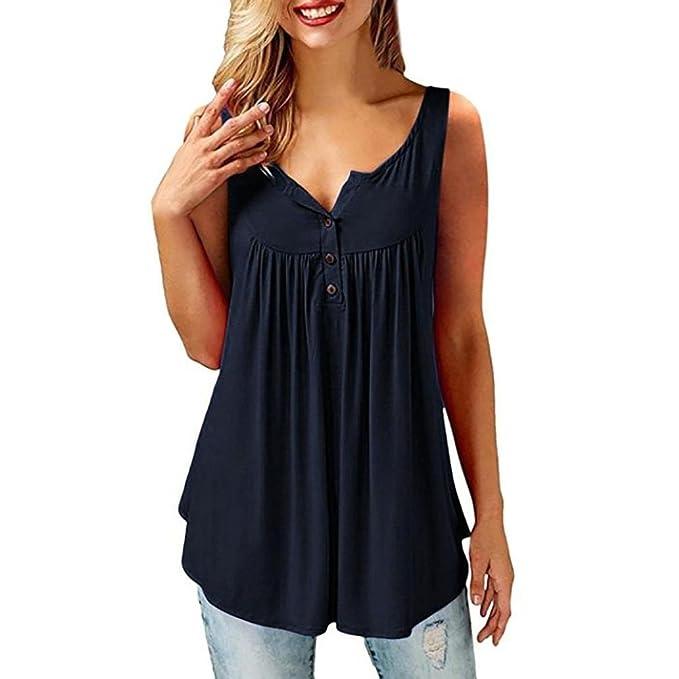 Camisas Mujer de Vestir Blusa Cuello V de Manga Corta Irregular Verano Camisetas con el Botón