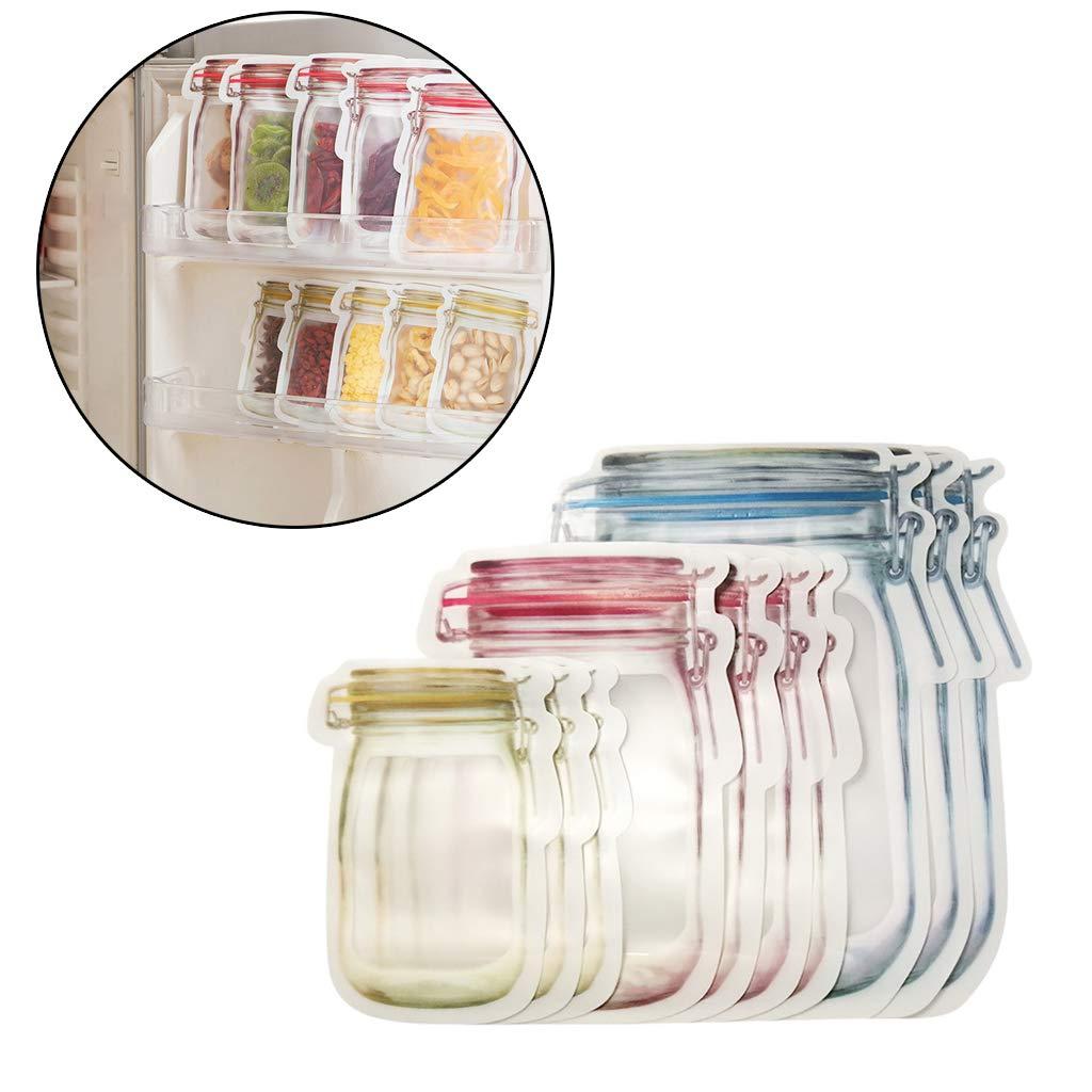 sackt Frischware ein Amhomely/® 10 St/ück Flaschenform Aufbewahrungstasche Versiegelter Beutel der Lebensmittel-Speicher-wiederverwendbares Glas einfriert Konservierungs-K/ühlschrank 10PC