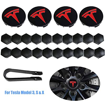Luckily Wheel Center Hub Caps for Tesla Model 3, S & X Set Aero,Set of Tesla Logo Wheel Caps +Center Hub Nut Cap Lug Nut Cover(Red): Automotive [5Bkhe1407352]