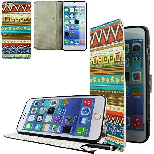 Ownstyle4you - APPLE IPHONE 6S Etui Wallet Coque Housse PREMIUM Portefeuille Eco Cuir Side CARACHA Protection Pare-Chocs Goutte Absorption des Chocs + Protecteur d'écran tactile