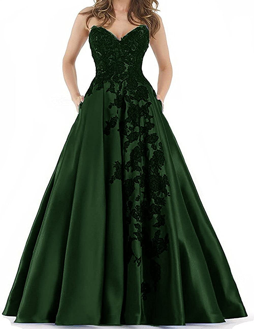 Dark Green YNQNFS Sweetheart lace Applique Prom Dresses with Pockets Long Satin Evening Party Ball
