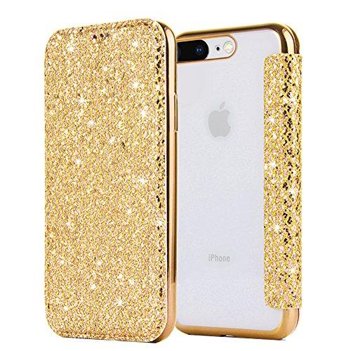 Funda iPhone 7 plus / iPhone 8 plus 5.5 , Bling Case Para Brillante Caja Gema Chispeante Cristal Protector Corona Zafiro Diamond Rhinestone Suave Piel TPU Con Cuerda Mujeres -Negro Azul