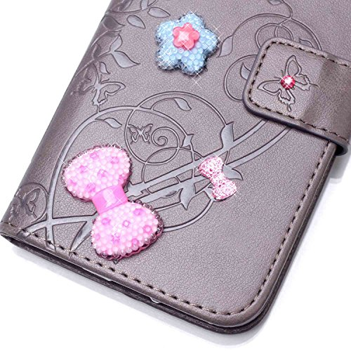 EKINHUI Case Cover Single Side Geprägte Blumenmuster PU-Leder-Kasten, Harz Rhinestone-Kasten-Buch-Entwurfs faltbare Bügel-Kasten-Mappen-Standplatz-Fall für Apple iPhone 5S ( Color : Gray )