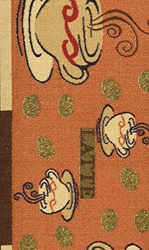 Ottomanson Sara's Kitchen Coffee Cups Design Mat Runner Rug with Non-Skid (Non-Slip) Rubber Backing, 20'' x 59'', Dark Orange by Ottomanson (Image #6)