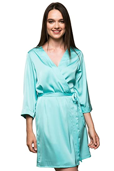 256c79722d Bunny Street Premium Quality Satin Robe - Mint, Turquoise - Kimono Dressing  Gowns for Bride and Bridesmaids on Wedding Sets of 3+ Robes: Amazon.co.uk:  ...