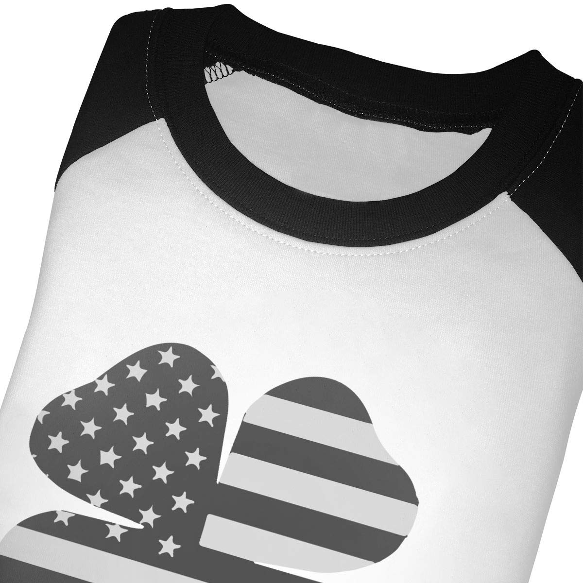 Clover Black American Flag Unisex 100/% Cotton Childrens 3//4 Sleeves T-Shirt Top Tees 2T~5//6T