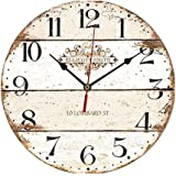"""ChezMax 12"""" Morden European Creative Frameless Wooden Electronic Wall Clock of French Country Tuscan Style DIY Assembling Clock"""