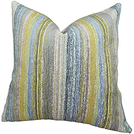 Plutus Brands Plutus Spoft Stire Cornflower Handmade Throw Pillow 20 X 20 Blue Mustard Lavender