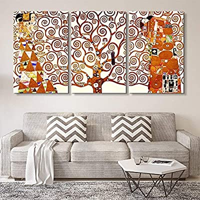Marvelous Creative Design, 3 Panel World Famous Painting Reproduction Tree of Life by Gustav Klimt x 3 Panels, With Expert Quality