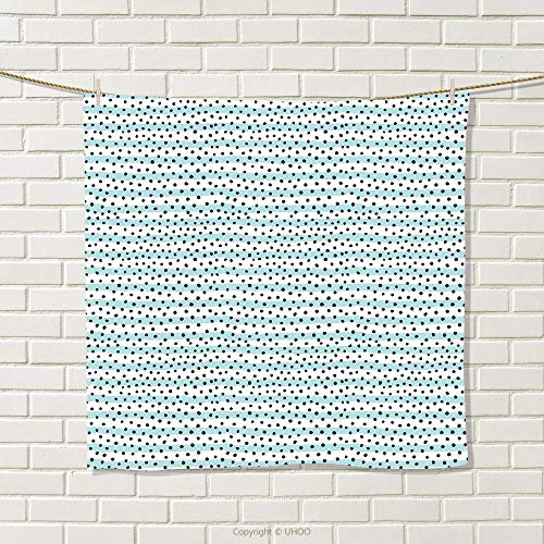 smallbeefly Grey Blue Hand Towel Pastel Colored Stripes with Dots Hand Drawn Geometric Pattern Quick-Dry Towels Pale Blue and Charcoal Grey Size: W 20