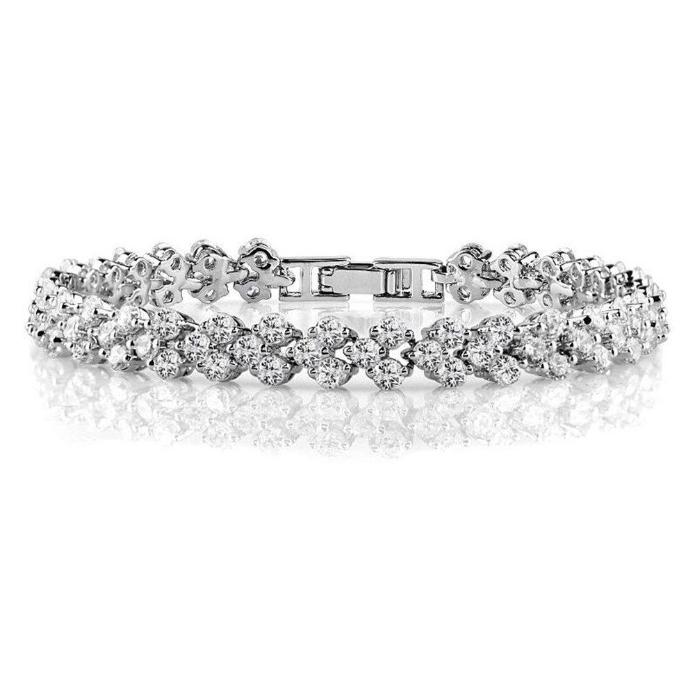 DULEE Retro Zircon Women's Bracelet Fashion Temperament Roman Bracelet,18CM