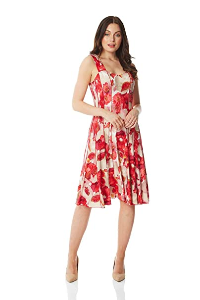 236c690ffdeb Roman Originals Women Floral Printed Panel Skater Dress - Ladies Wedding  Guests Smart Casual Office Comfortable Round Neck Knee Length Midi Jersey A  Line ...