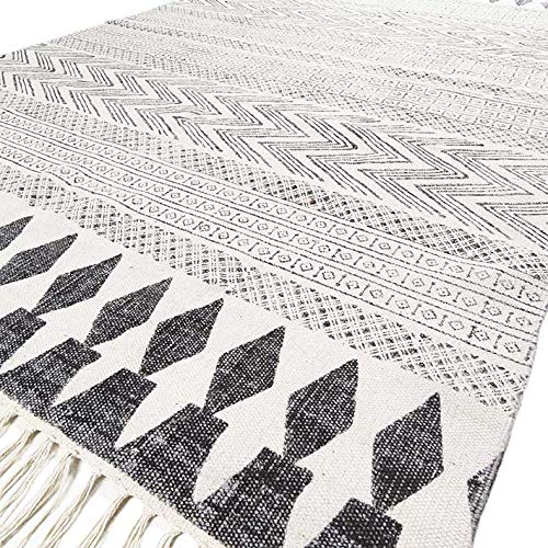 Eyes of India - Off- White Black Cotton Block Print Area Accent Dhurrie Rug Weave Boho Chic Indian Bohemian
