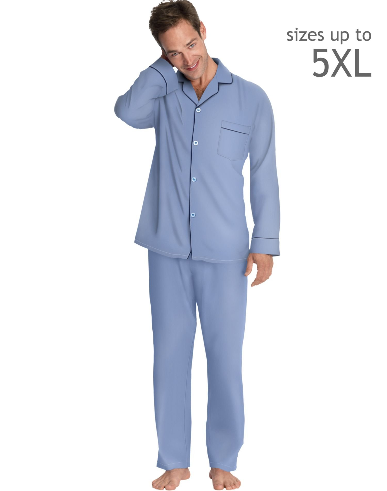 Hanes LSLLBCWM-LSLLBCWMB Mens Woven Pajamas Size Small, Medium Blue