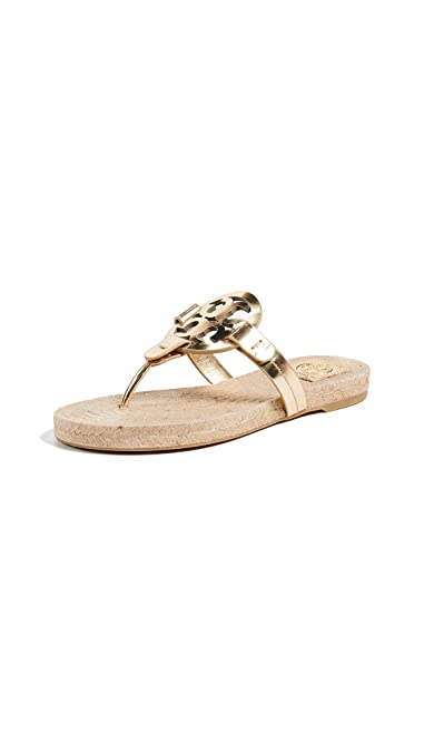 3f10f62fed3 Amazon.com | Tory Burch Miller Thong Espadrille Sandals in Gold ...