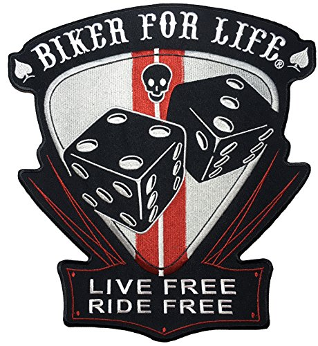 [Large Size] Papapatch BIKER FOR LIFE LIVE FREE RIDE FREE Skull Spade Ace Lucky Dice Biker Rider Motorcycle Jacket Vest Costume Embroidered Sewing Iron on Patch (IRON-BIKER-FOR-LIFE-DICE-LARGE)