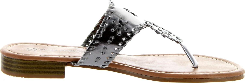 Pierre Dumas Womens Rosetta 1 Flat Sandals Platinum