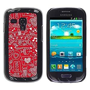 PC/Aluminum Funda Carcasa protectora para Samsung Galaxy S3 MINI NOT REGULAR! I8190 I8190N Sketch Heart Note Music Drawing / JUSTGO PHONE PROTECTOR