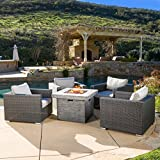Cheap GDF Studio | Soleil | Outdoor 4 Piece Wicker Club Chair Set with Square Fire Pit | in Grey/White Cushions
