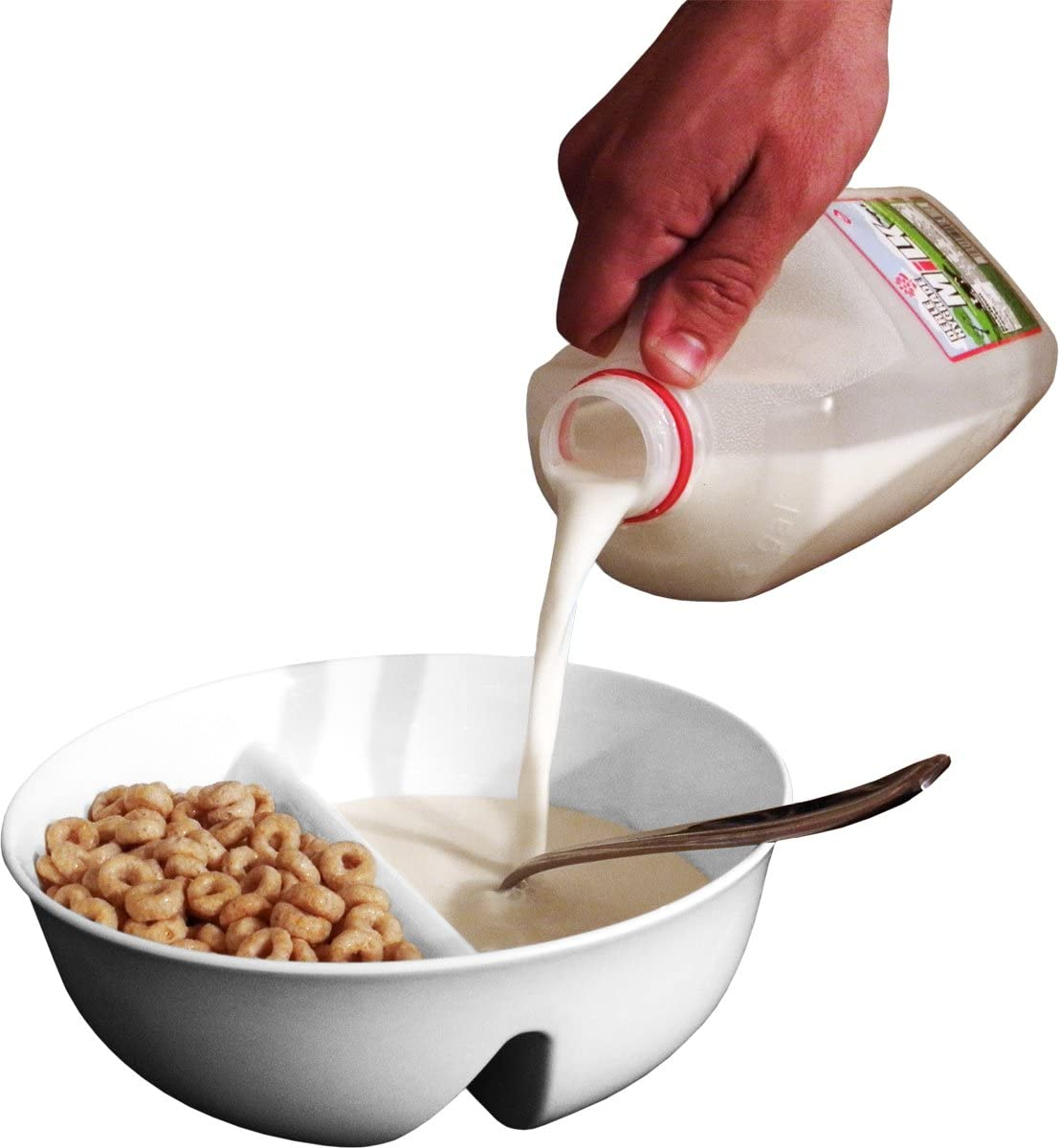 Just Crunch Anti-Soggy Cereal Bowl - Keeps Cereal Fresh & Crunchy | BPA Free | Microwave Safe | Ice Cream & Topping, Yogurt & Berries, Fries & Ketchup and More – White