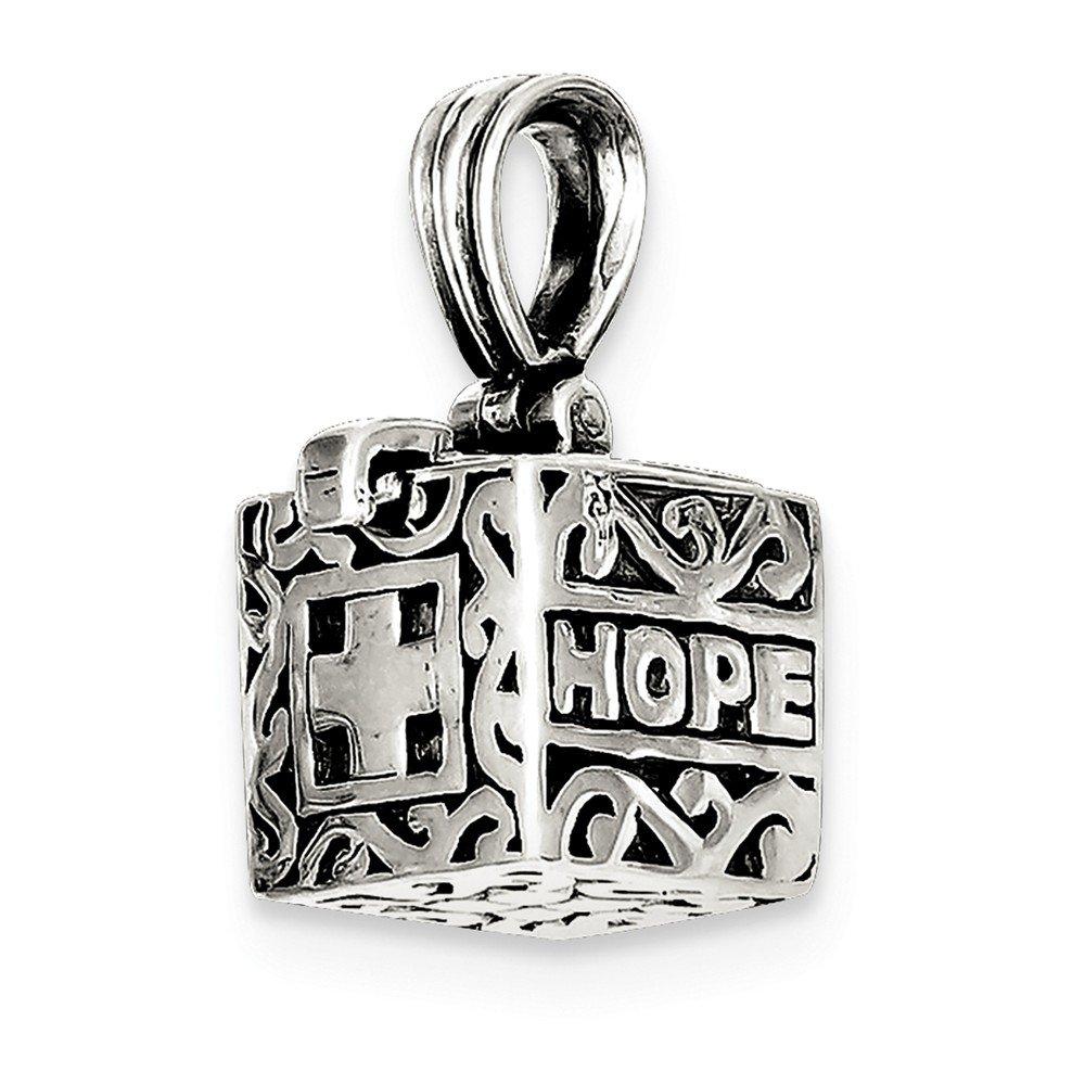 Sterling Silver Faith /& Hope Prayer Box Pendant