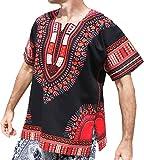 RaanPahMuang Brand Unisex Bright Black Cotton Africa Dashiki Shirt Plain Front, Medium, Orange Red on Black