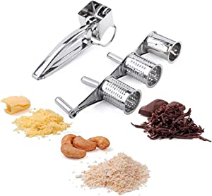 Rotary Cheese Grater-Stainless Steel Cheese Grater Shredder Cutter Grinder with 3 Different Wire Meshes for Cheese Vegetable Nuts Chocolate and more