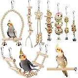 Bird Parrot Swing Toys, Chewing Standing Hanging Perch Hammock Climbing Ladder Bird Cage Toys for Budgerigar, Parakeet, Conur