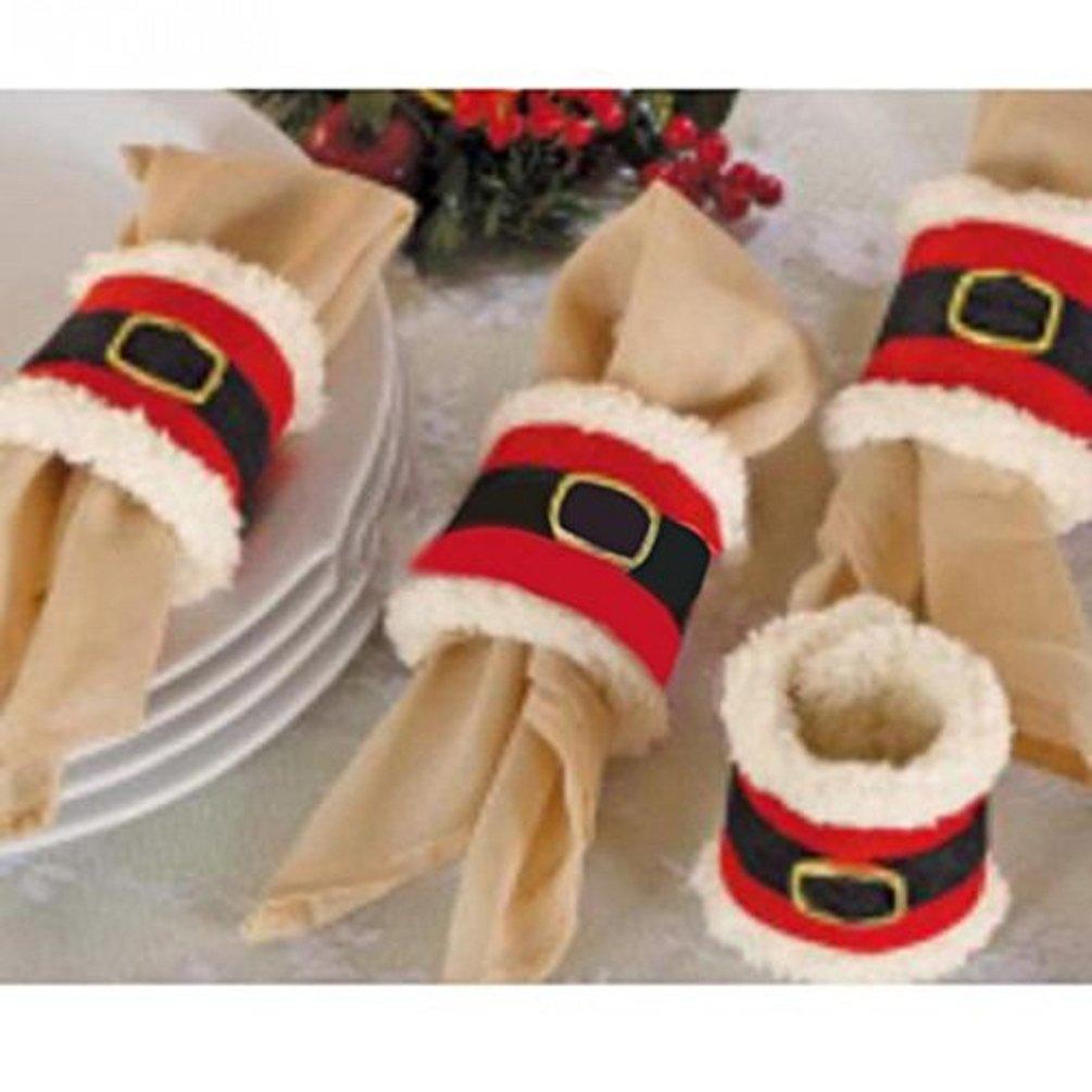 Amberetech 4pcs Napkin Rings Holder, Santa Belts Design, Party Dinner Table Decor